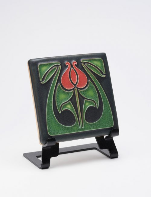Ceramic art tile featuring a red tulip bud by Motawi Tileworks.