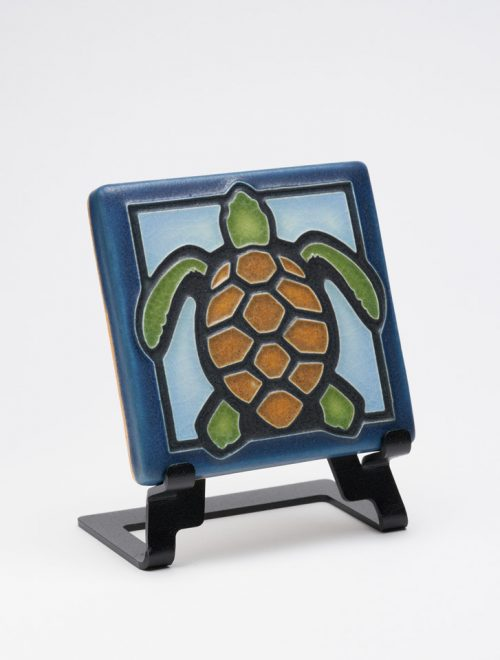 Ceramic turtle art tile handcrafted by Motawi Tileworks in Michigan.