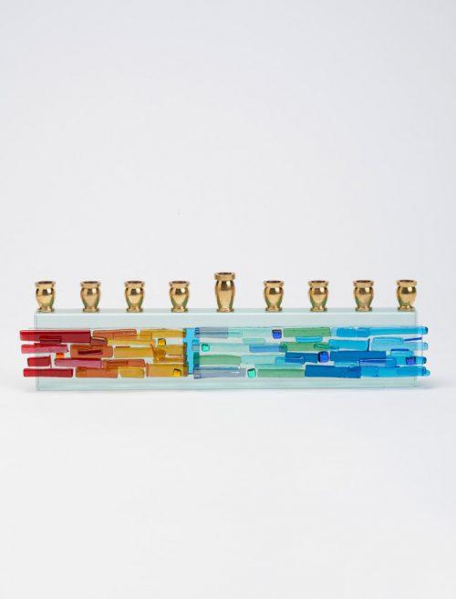 Art glass menorah by North Carolina artist Alicia Kelemen.