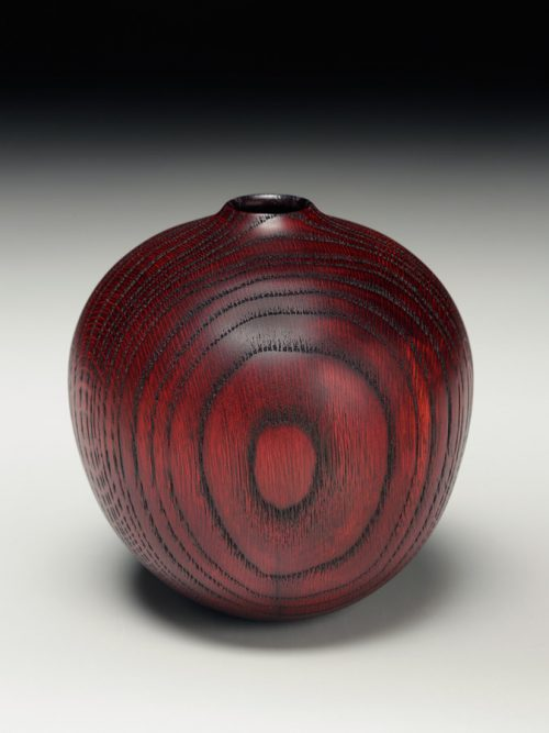 Red hollow oak vessel by Andy DiPietro.