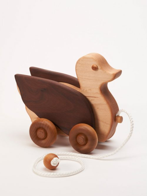 Wooden duck pull toy by East Laurel Woodcrafts.