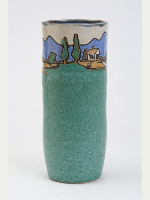Tall stoneware vase by Hog Hill Pottery.