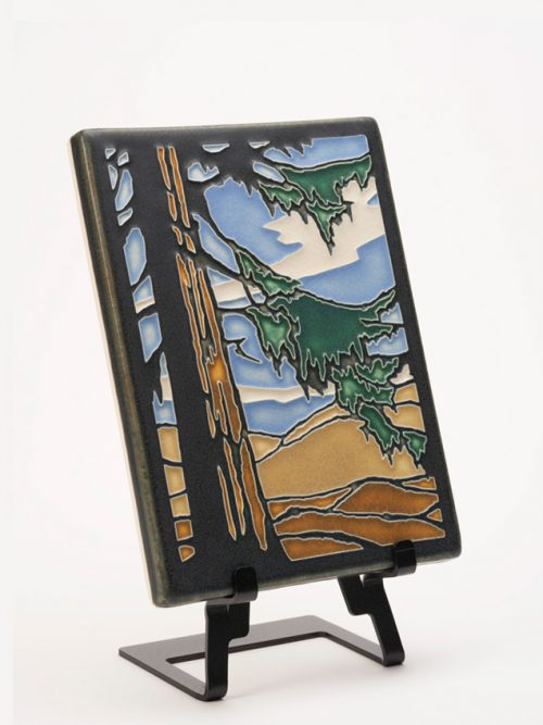 Ceramic art tile of a redwood tree by Motawi Tileworks.