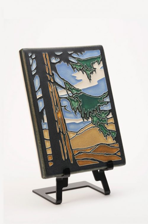 Ceramic art tile of a redwood tree by Motawi Tileworks.