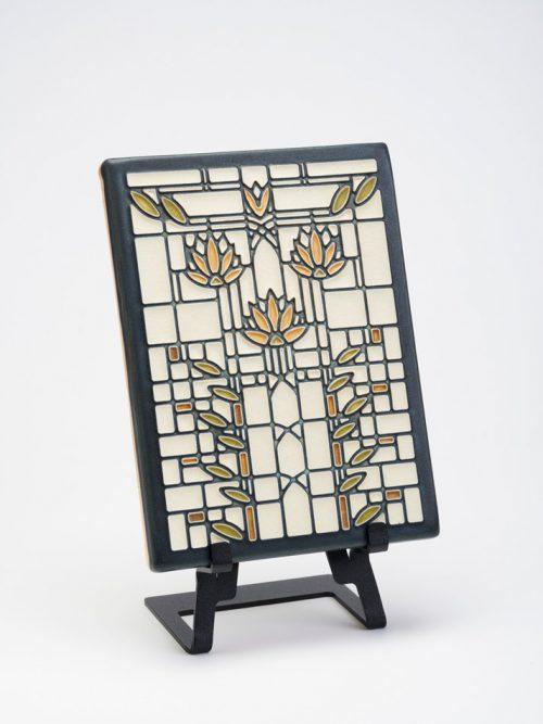 Waterlilies ceramic art tile in cream by Motawi Tileworks.