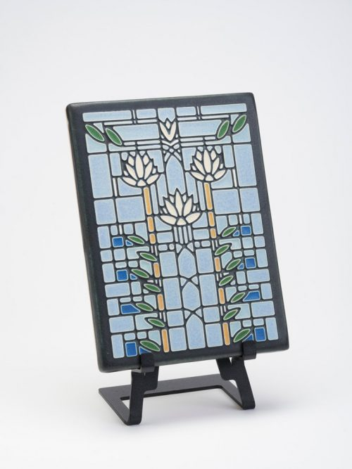 Waterlilies ceramic art tile by Motawi Tileworks.