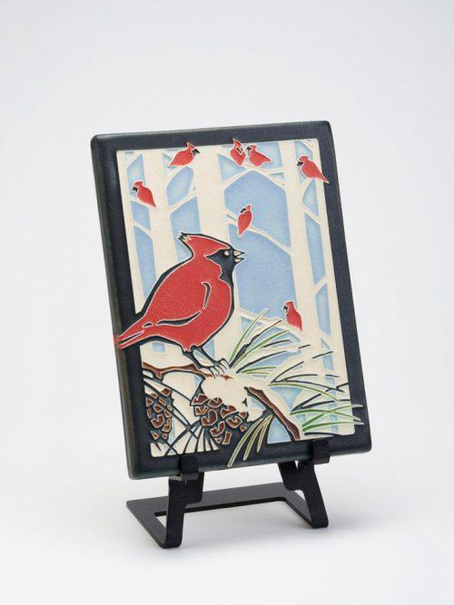 Winter Cardinals ceramic art tile by Motawi Tileworks.