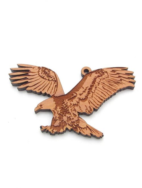 Wooden bald eagle ornament by Nestled Pines Woodworking.