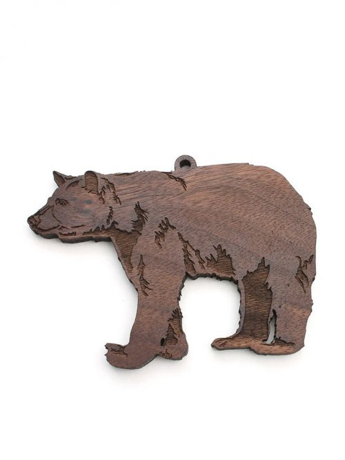 Nestled Pines Woodworking black bear ornament.