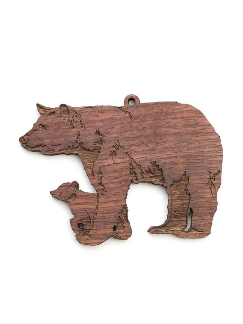 Wooden black bear with cub ornament by Nestled Pines Woodworking.