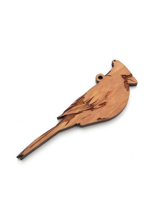 Wooden cardinal ornament by Nestled Pines Woodworking.