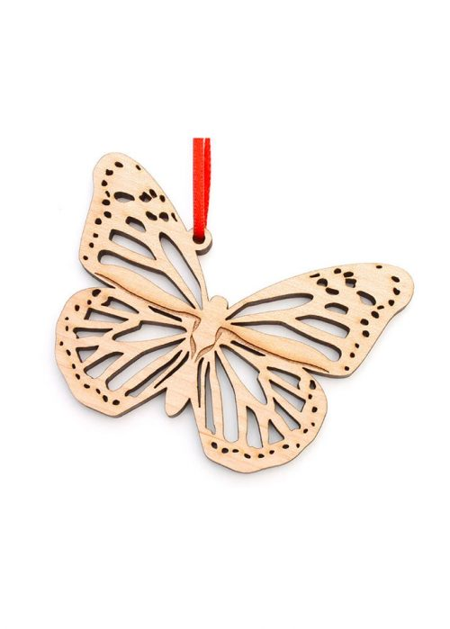 Monarch butterfly ornament handcrafted by Nestled Pines Woodworking.