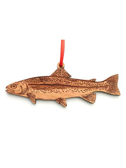 Wooden rainbow trout ornament by Nestled Pines Woodworking.