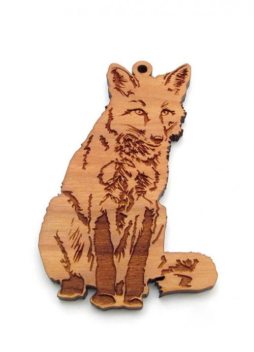 Wooden red fox ornament by Nestled Pines Woodworking.