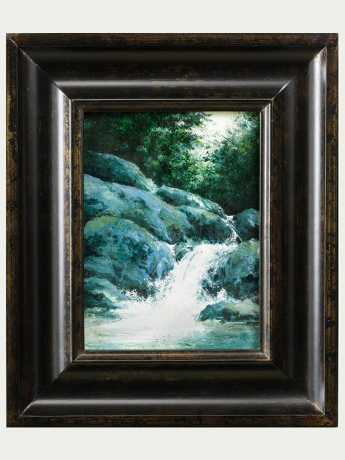 Waterfall study oil painting by artist Shawn Krueger.