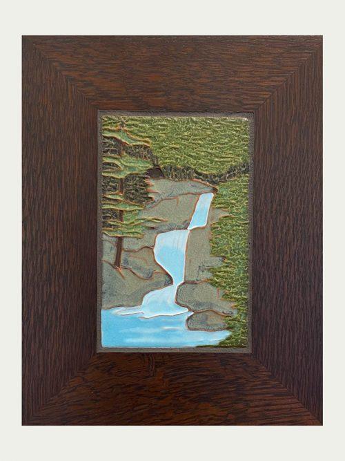 Framed waterfall art tile by artist Jonathan White.