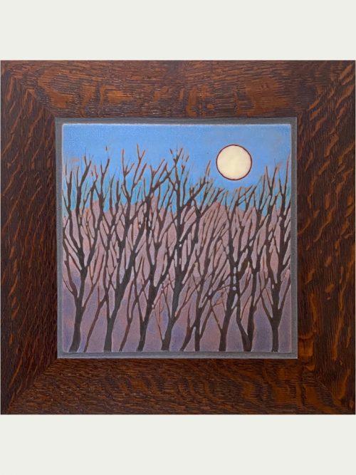 Framed ceramic art tile of a winter moon by Jonathan White.