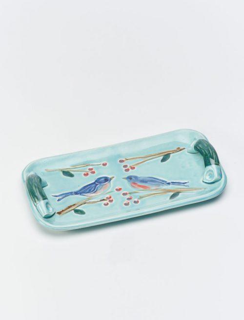 Ceramic bluebird tray by North Carolina artist Vicki Gill.