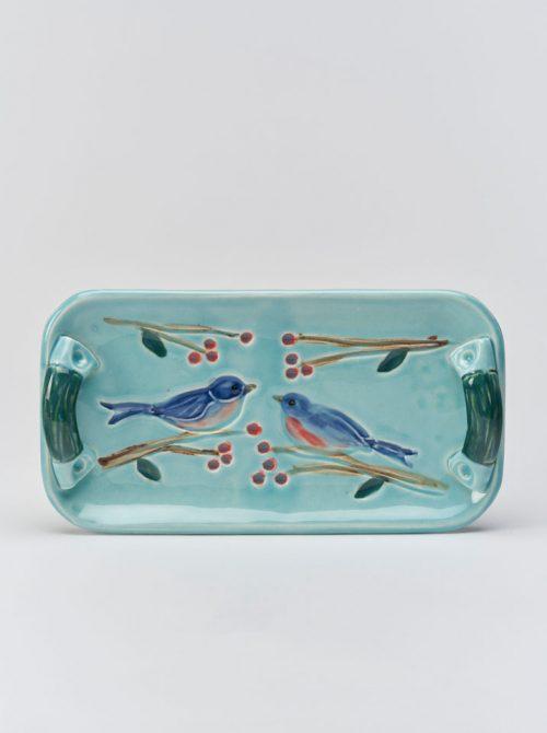 Ceramic blue bird tray handcrafted by North Carolina artist Vicki Gill.