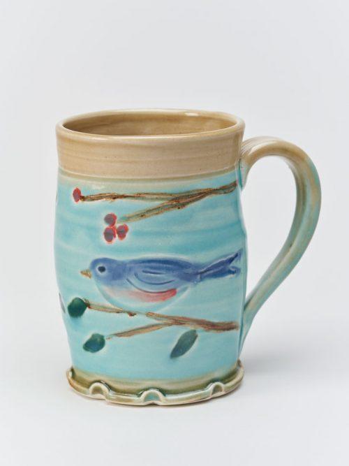 Bluebird artisan mug handcrafted by Vicki Liles Gill.