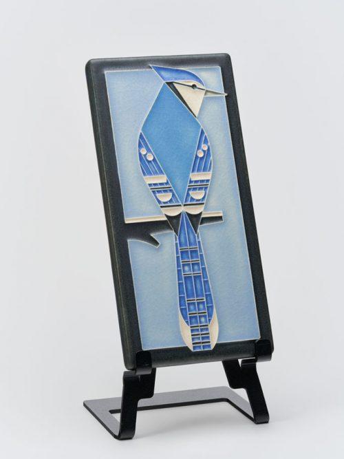 Ceramic art tile with a blue jay design by Motawi Tileworks.