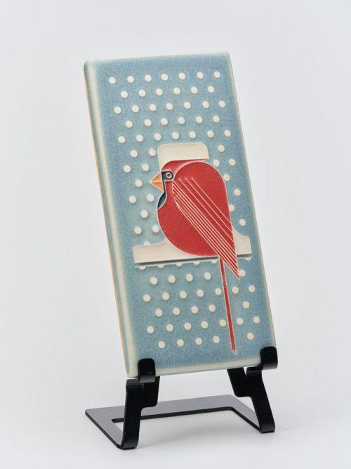 Ceramic art tile titled Cool Cardinal by Motawi Tileworks.