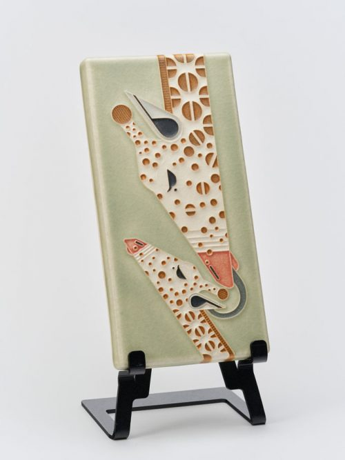 Ceramic art tile with a giraffe design by Motawi Tileworks in Ann Arbor, MI.