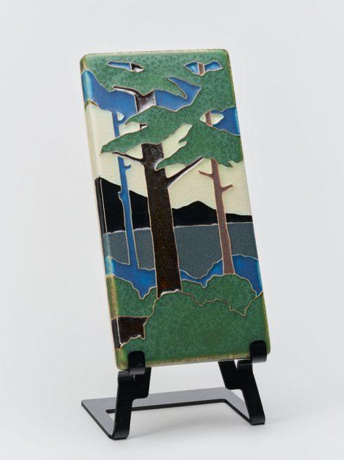 Vertical pine landscape ceramic tile by Motawi Tileworks.