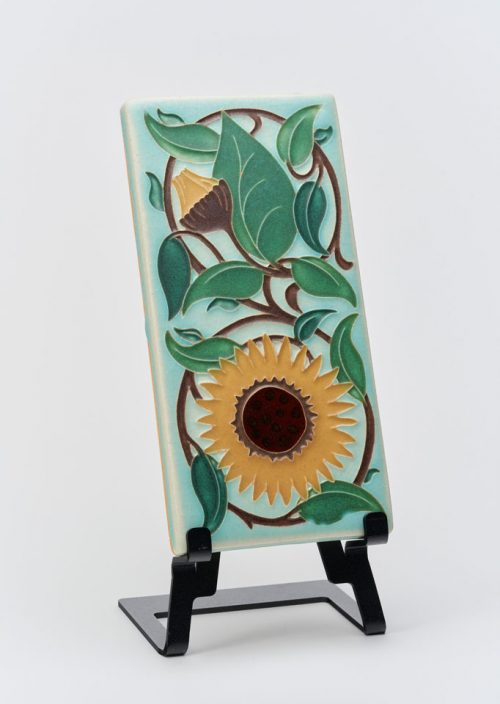 Ceramic handmade art tile by Motawi Tileworks featuring a sunflower.