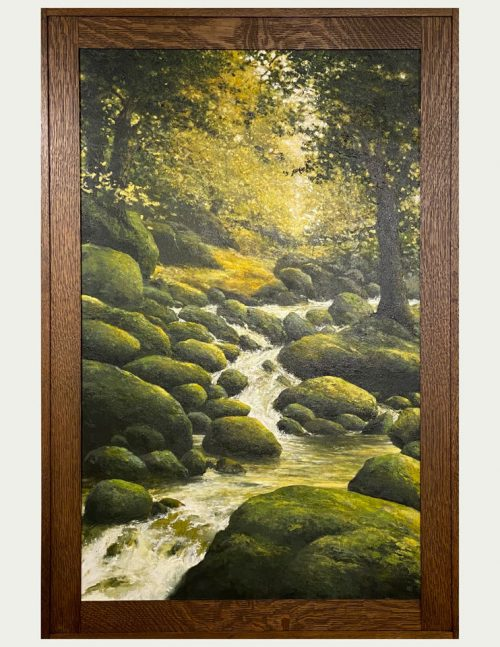 Fine art oil painting by Shawn Krueger titled Early Autumn Falls.
