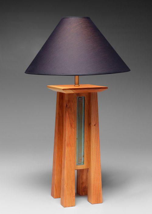 Handcrafted table lamp by Desmond Suarez.