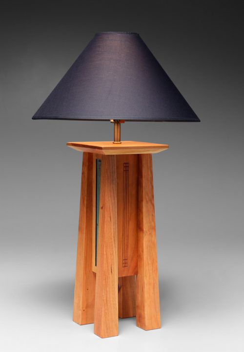 Cherry table lamp by North Carolina woodworker Desmond Suarez.