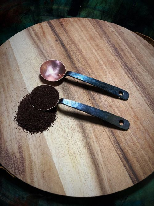 Hand forged coffee scoops.