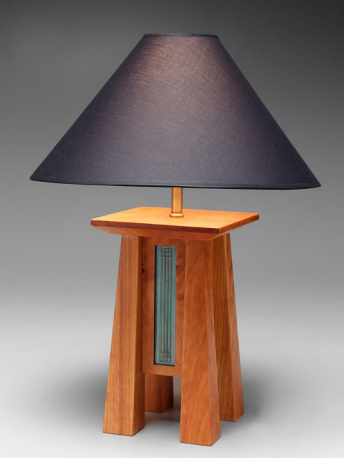 Cherry table lamp by North Carolina artist Desmond Suarez.