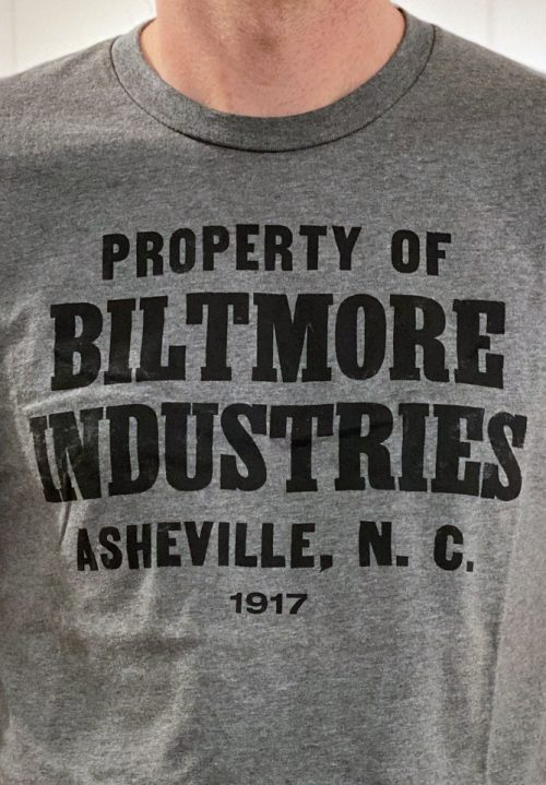 Detail of a Biltmore Industries t-shirt.