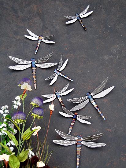 A display of metal art dragonflies by John Running.