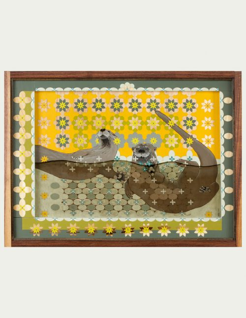 Fine art mixed media wall hanging of two swimming otters by Kim Dills.