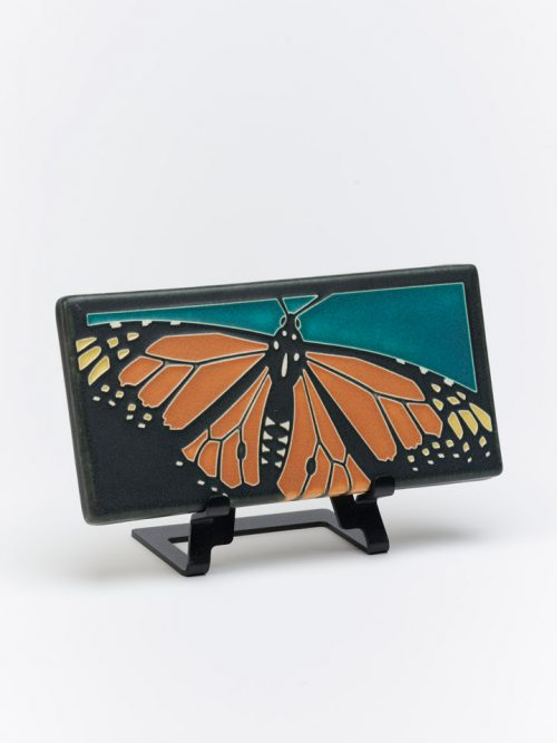 Ceramic monarch butterfly art tile by Motawi Tileworks in Ann Arbor, Michigan.