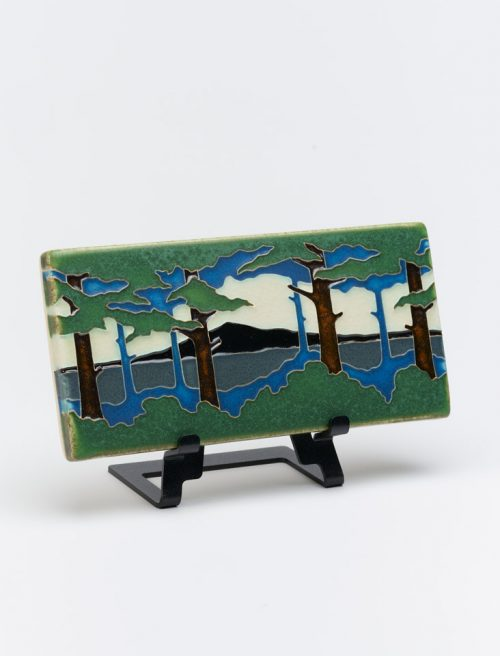 Ceramic art tile of a pine landscape by Motawi Tileworks of Ann Arbor, Michigan.
