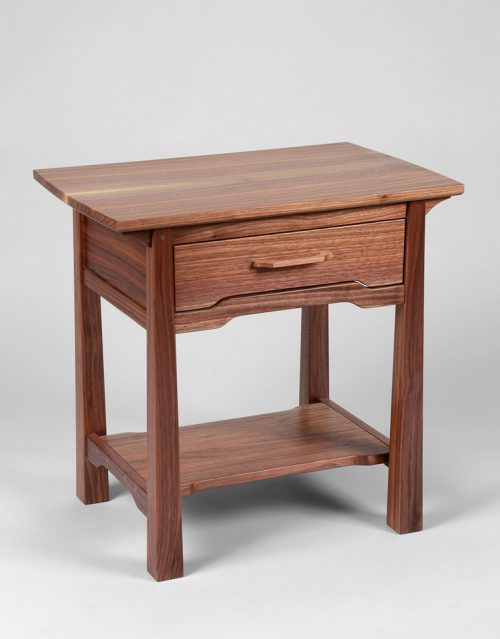 End table handcrafted from walnut by Susan Link.