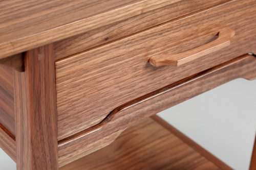 Drawer detail of a walnut end table handcrafted by Susan Link.