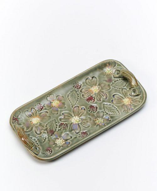 Ceramic blossom tray by North Carolina studio potter Vicki Gill.