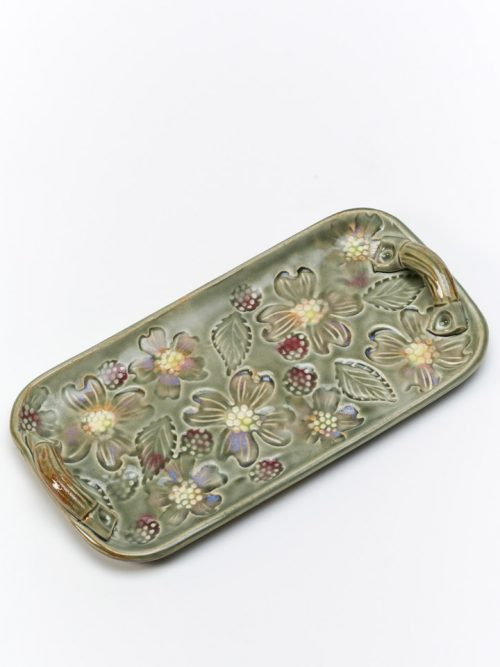 Ceramic blossom tray by North Carolina studio potter Vicki Gill.