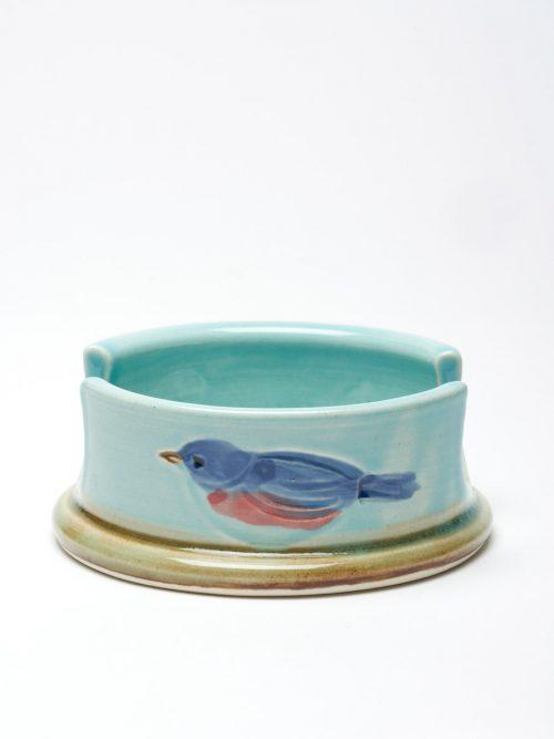 Blue ceramic sponge holder by studio potter Vicki Gill.