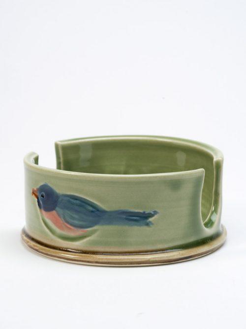 Stoneware sponge holder by North Carolina studio potter Vicki Gill of Bluegill Pottery.