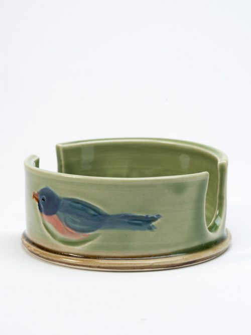 Stoneware sponge holder by North Carolina studio potter Vicki Gill of Bluegill Pottery.