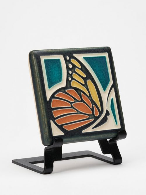 Ceramic butterfly art tile handmade by Motawi Tileworks.