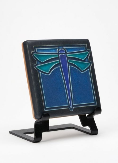 Ceramic dragonfly art tile handmade by Motawi Tileworks.