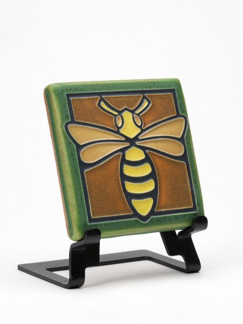 Ceramic green bee tile handmade by Motawi Tileworks.