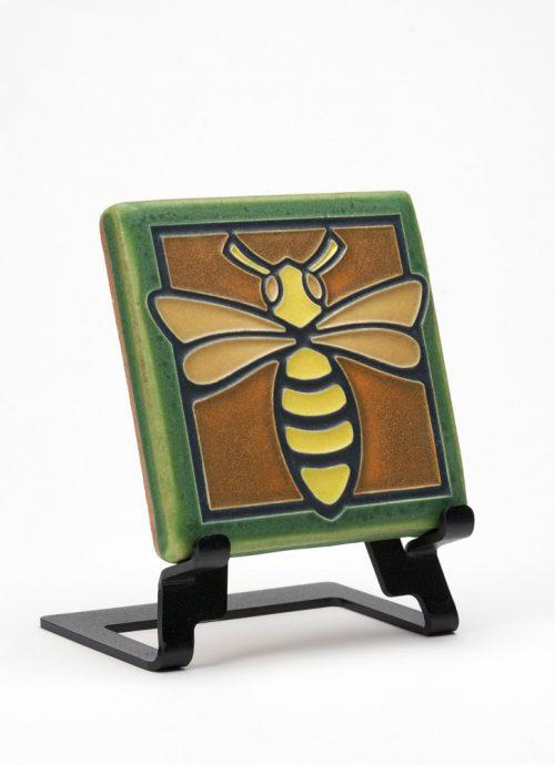Ceramic green bee tile handmade by Motawi Tileworks.